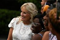 US First Lady Jill Biden poses with guests after US President Joe Biden delivered a speech on Independence Day