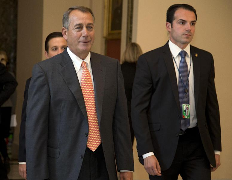 House Speaker John Boehner of Ohio walks vote on the House floor on Capitol Hill, Thursday, Sept. 19, 2013 in Washington. House Republican leaders scrambled Thursday to line up support in advance of a late-afternoon vote on legislation that would cut nearly $4 billion a year from the food stamp program, now used by 1 in 7 Americans. (AP Photo/Carolyn Kaster)