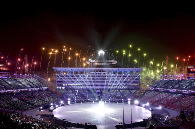 <p>Fireworks are set off during the opening ceremony of the 2018 Winter Olympics in Pyeongchang, South Korea, Friday, Feb. 9, 2018. (Franck Fife/Pool Photo via AP) </p>