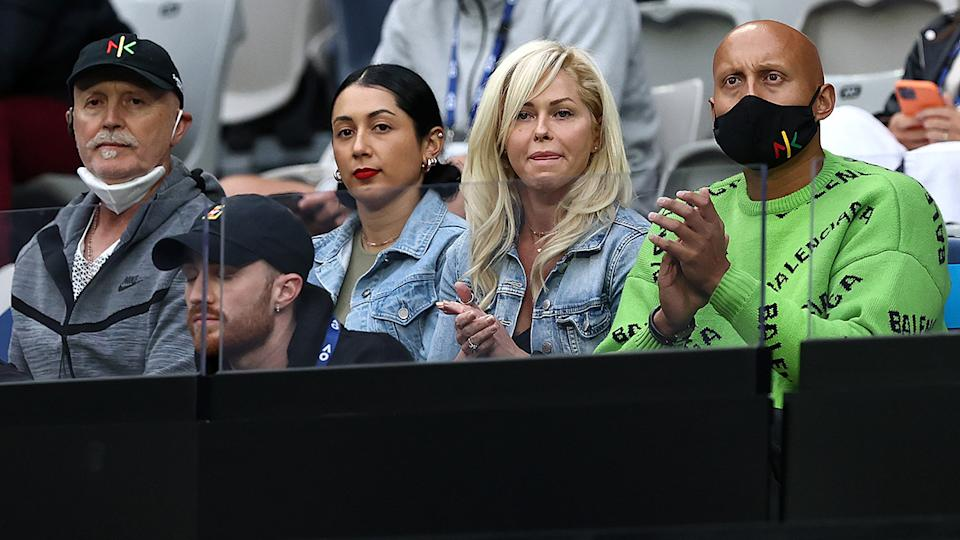 Nick Kyrgios' father, sister, brother and brother's girlfriend, pictured here watching him at the Australian Open.