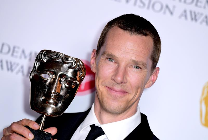 Benedict Cumberbatch in the press room after winning the award for Best Actor at the Virgin Media BAFTA TV awards, held at the Royal Festival Hall in London. (Photo by Ian West/PA Images via Getty Images)