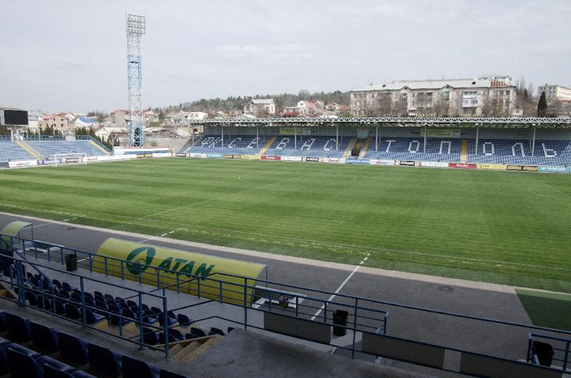 The pitch of the FC Sevastopol home stadium in Sevastopol on on March 26, 2014