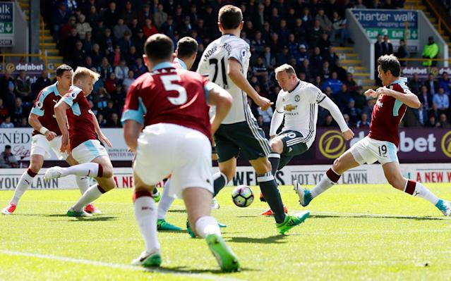 <span>Manchester United's Wayne Rooney shoots at goal</span> <span>Credit: Reuters </span>