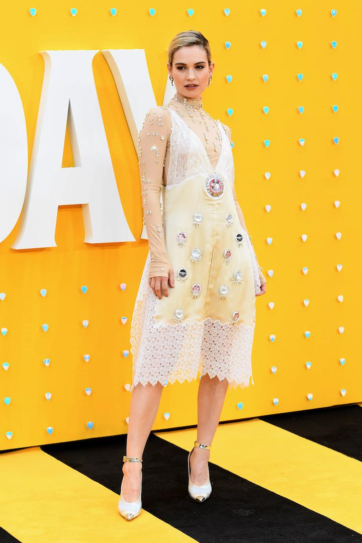Lily James is quickly becoming our go-to style muse and this look further demonstrates our newfound obsession with her wardrobe. The actress chose a dainty dress by Burberry for her most recent red carpet appearance. <em>[Photo: Getty]</em>