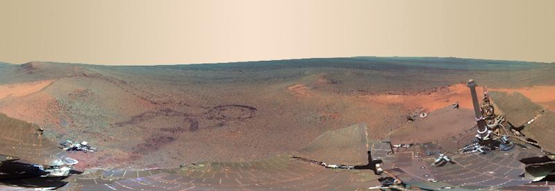 A panoramic view of Mars, put together from 817 images taken by the rover Opportunity (AFP Photo/HO)