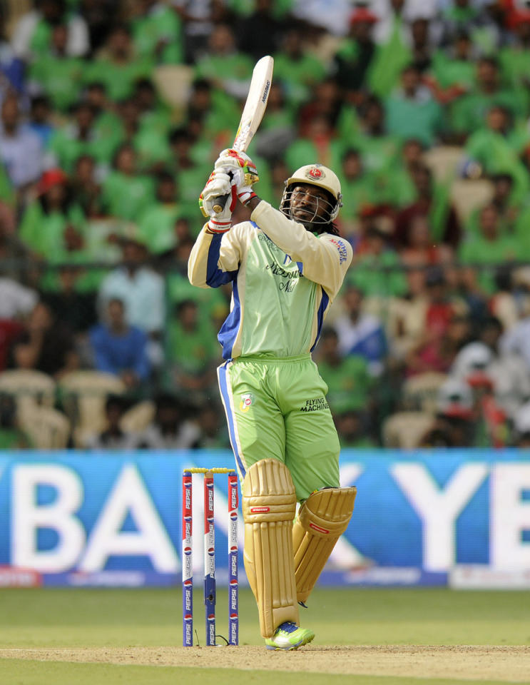 Chris Gayle of Royal Challengers Bangalore bats during match 63 of the Pepsi Indian Premier League between The Royal Challengers Bangalore and The Kings XI Punjab held at the M. Chinnaswamy Stadium, Bengaluru  on the 14th May 2013..Photo by Pal Pillai-IPL-SPORTZPICS  ..Use of this image is subject to the terms and conditions as outlined by the BCCI. These terms can be found by following this link:..https://ec.yimg.com/ec?url=http%3a%2f%2fwww.sportzpics.co.za%2fimage%2fI0000SoRagM2cIEc&t=1506327241&sig=r62efUOAb._I0h5cHzpsew--~D