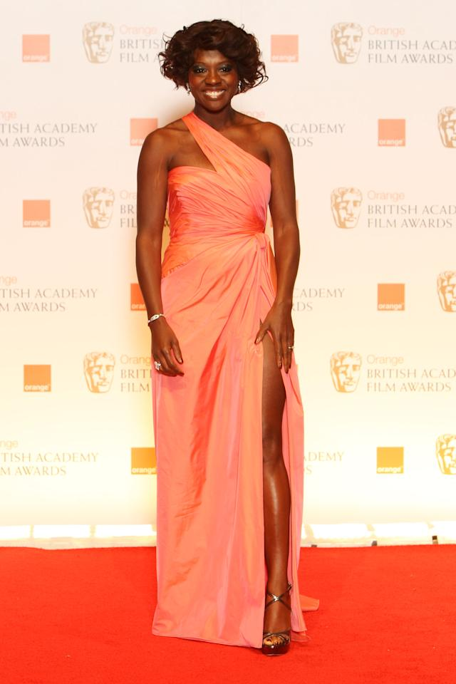 LONDON, ENGLAND - FEBRUARY 12:  (UK TABLOID NEWSPAPERS OUT) Viola Davis poses in the press room at The Orange British Academy Film Awards 2012 at The Royal Opera House on February 12, 2012 in London, England.  (Photo by Dave Hogan/Getty Images)
