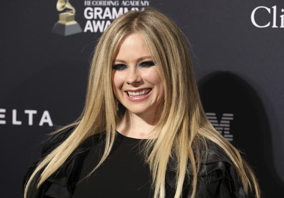 Avril Lavigne arrives at the Pre-Grammy Gala And Salute To Industry Icons at the Beverly Hilton Hotel on Saturday, Jan. 25, 2020, in Beverly Hills, Calif. (Photo by Mark Von Holden/Invision/AP)