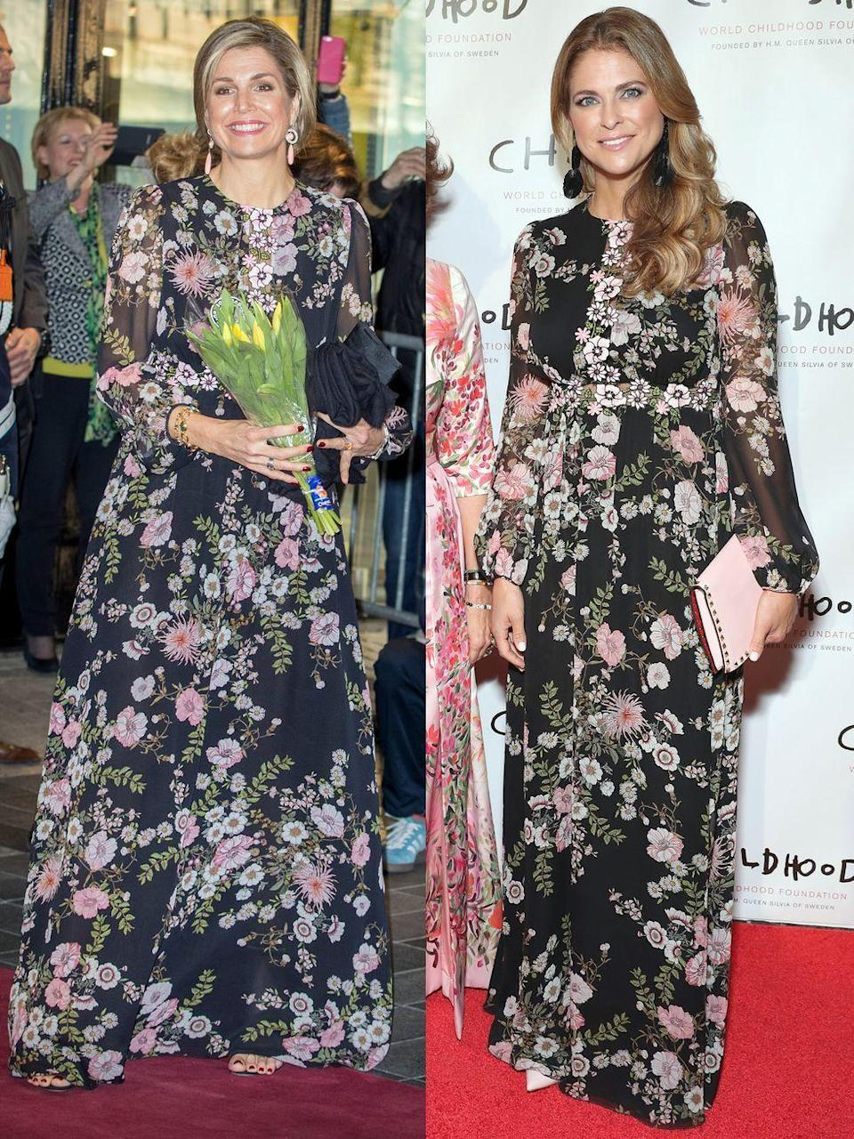 <p>Queen Maxima of the Netherlands, left, wears Giambattista Valli to the Tilburg Theater for the Kingsday concert on April 4, 2017. On the right, HRH Princess Madeleine of Sweden wears the same dress to the World Childhood Foundation Thank You Gala on October 3, 2018 in New York City.</p>