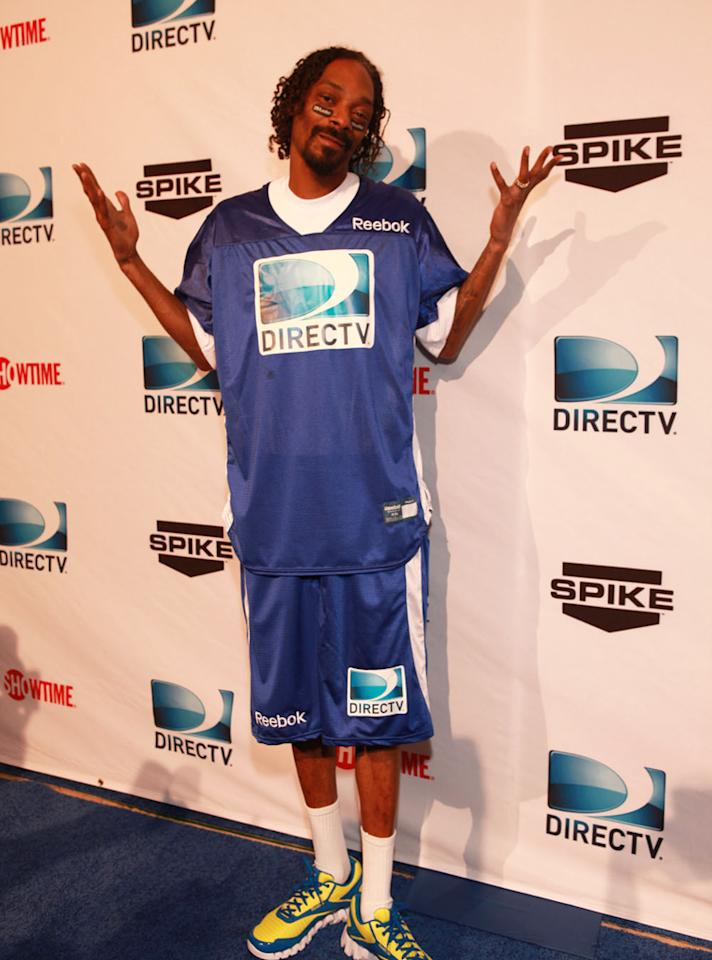 Snoop Dogg arrives at the DirecTV Celebrity Beach Bowl in Indianapolis.