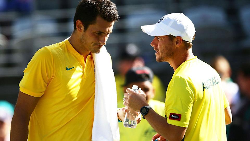 Bernard Tomic and Lleyton Hewitt in 2016. (Photo by Matt King/Getty Images)