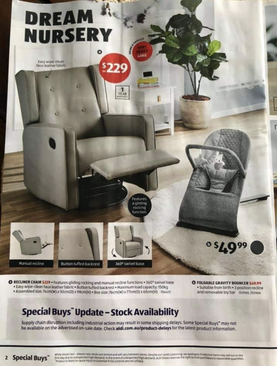An Aldi advertisement for the chair.