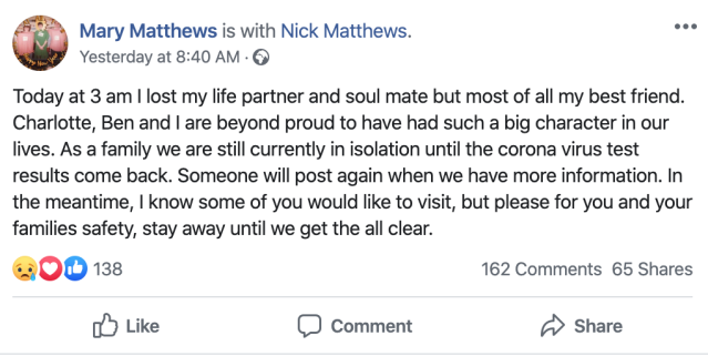 Mary Matthews paid tribute to husband Nick via Facebook. (Picture: Facebook)