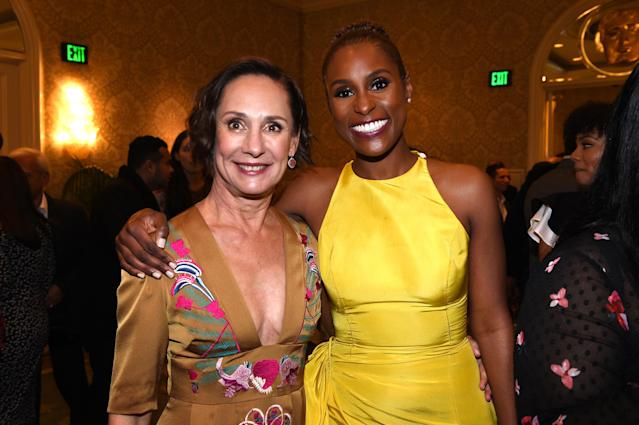 Laurie Metcalf, left, and Issa Rae were among the stars of film and TV gathered at the BAFTA Los Angeles Tea Party at the Four Seasons in Beverly Hills on Jan. 6, 2018. (Photo: Getty Images)