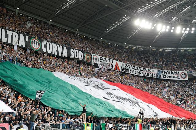 Soccer Football - Serie A - Juventus vs Hellas Verona - Allianz Stadium, Turin, Italy - May 19, 2018 Juventus fans display a flag REUTERS/Stefano Rellandini