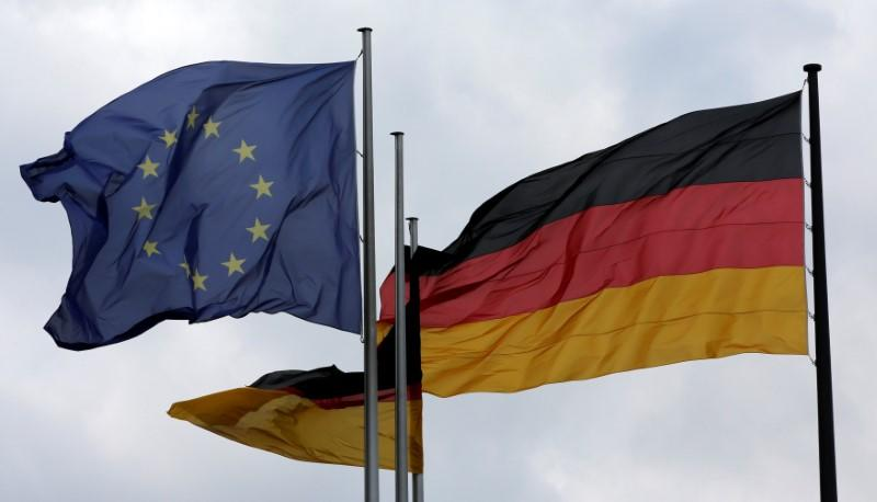The European Union and German nation flags are pictured before a debate on the consequences of the Brexit vote at the lower house of parliament Bundestag in Berlin