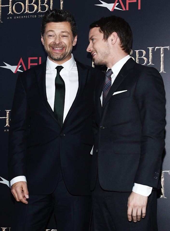 """NEW YORK, NY - DECEMBER 06:  Andy Serkis (L) and Elijah Wood attend """"The Hobbit: An Unexpected Journey"""" New York premiere benefiting AFI at Ziegfeld Theater on December 6, 2012 in New York City.  (Photo by Andrew H. Walker/Getty Images)"""