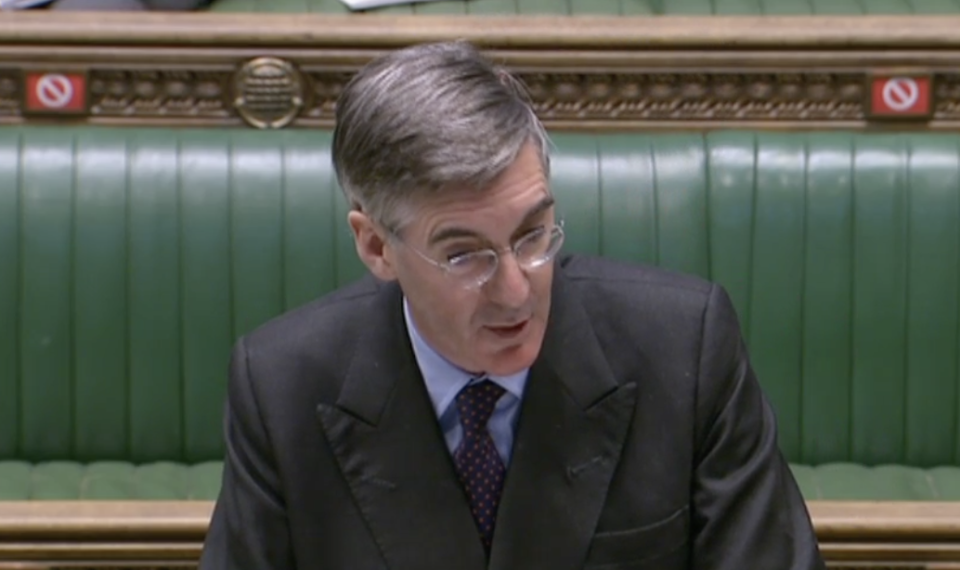 'What would you expect of a hard-left Labour government?' Jacob Rees-Mogg in the Commons on Thursday. (Parliamentlive.tv)