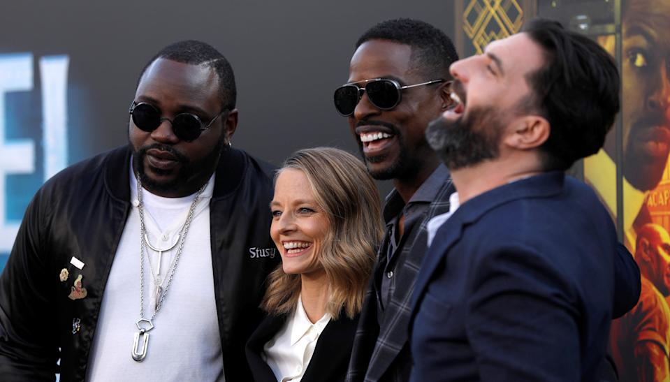 Cast members Jodie Foster, Brian Tyree Henry, Sterling K. Brown and director Drew Pearce pose at the premiere for the movie Hotel Artemis in Los Angeles (REUTERS/Mario Anzuoni)