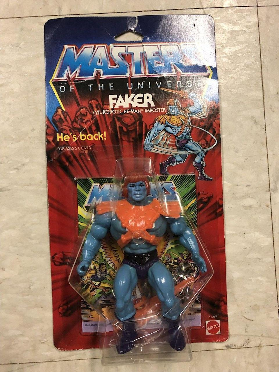 """<p>His name might be Faker, but there is certainly nothing fake about his worth. Fans are willing to pay upwards of $300-$1,000 for <a href=""""https://www.ebay.com/itm/MOTU-Faker-Masters-of-the-Universe-He-Man-MISB-MOC-MOSC-Lot-4/132888432328?hash=item1ef0c48ec8:g:tIoAAOSwUn9aSaaV:rk:4:pf:0"""" rel=""""nofollow noopener"""" target=""""_blank"""" data-ylk=""""slk:an in-box version"""" class=""""link rapid-noclick-resp"""">an in-box version</a> of the evil robotic imposter.</p>"""