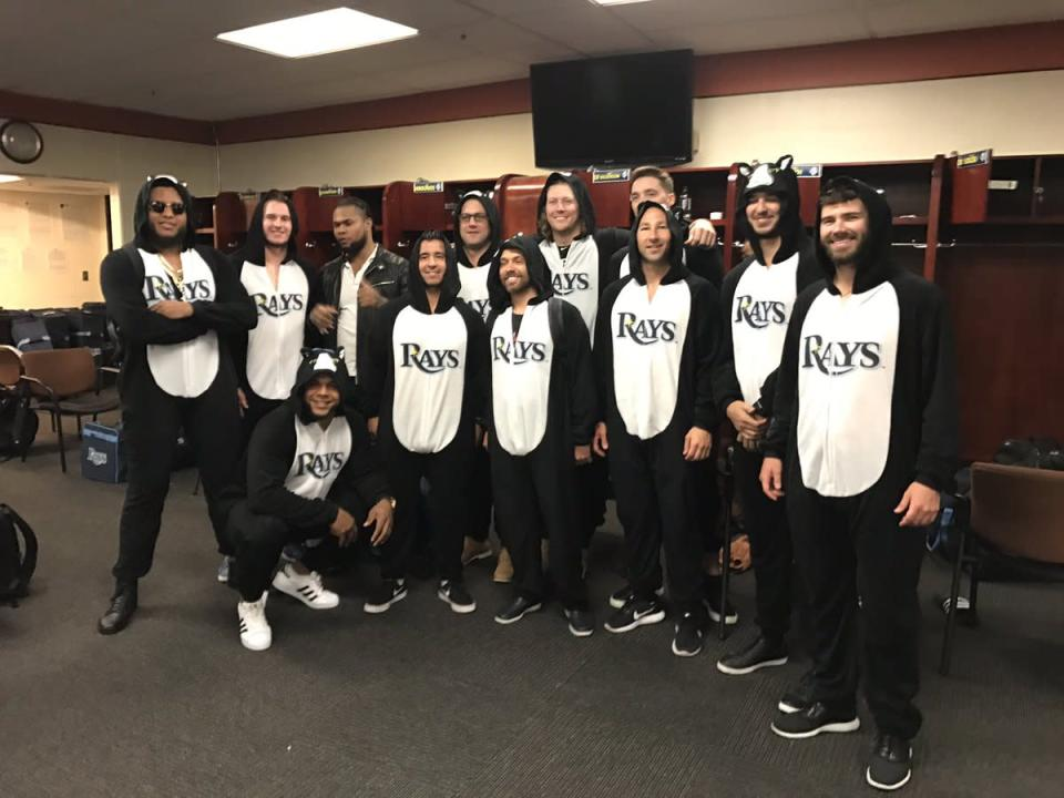 The Tampa Bay Rays rookies dressed up in sharp cat onesies for their annual dress-up day. (Twitter/@RaysBaseball)