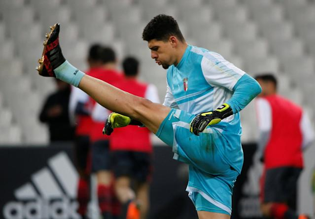 Soccer Football - Europa League Round of 32 First Leg - Olympique de Marseille vs S.C. Braga - Orange Velodrome, Marseille, France - February 15, 2018 Sporting Braga's Matheus Magalhaes warms up before the match REUTERS/Jean-Paul Pelissier
