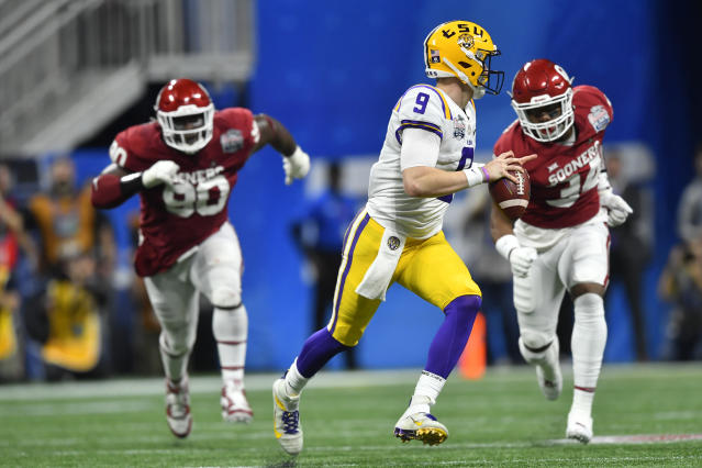 LSU quarterback Joe Burrow (9) works out of the pocket against Oklahoma during the second half of the Peach Bowl NCAA semifinal college football playoff game, Saturday, Dec. 28, 2019, in Atlanta. (AP Photo/John Amis)
