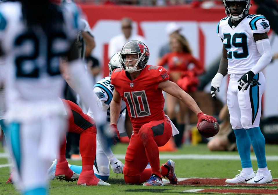 Former Tampa Bay Buccaneers wide receiver Adam Humphries (10) has agreed to join the Tennessee Titans. (AP)