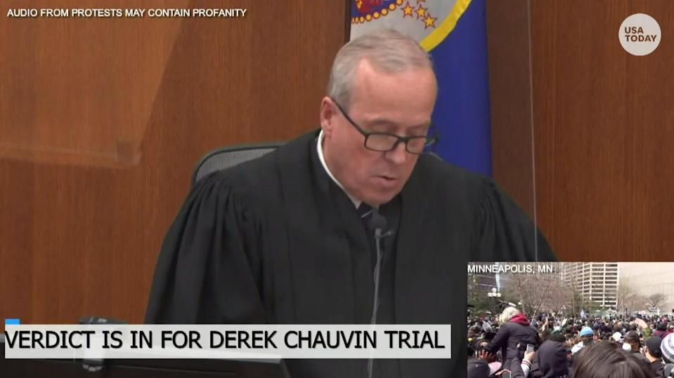 Judge Peter Cahill reads a verdict during the trial of Derek Chauvin of the death of George Floyd at the courthouse in Minneapolis on April 20, 2021.
