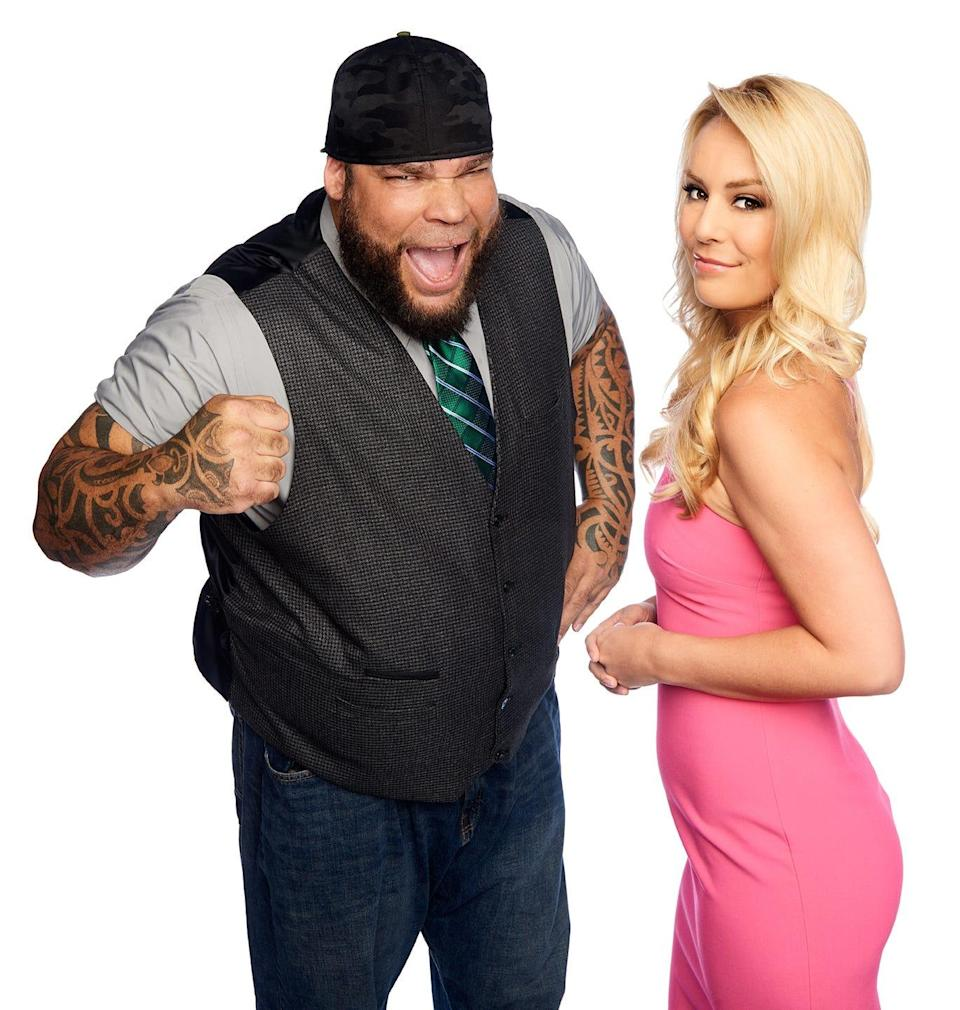 """Tyrus, at left, and Britt McHenry, former co-hosts of """"Un-PC,"""" on the Fox Nation subscription streaming service."""