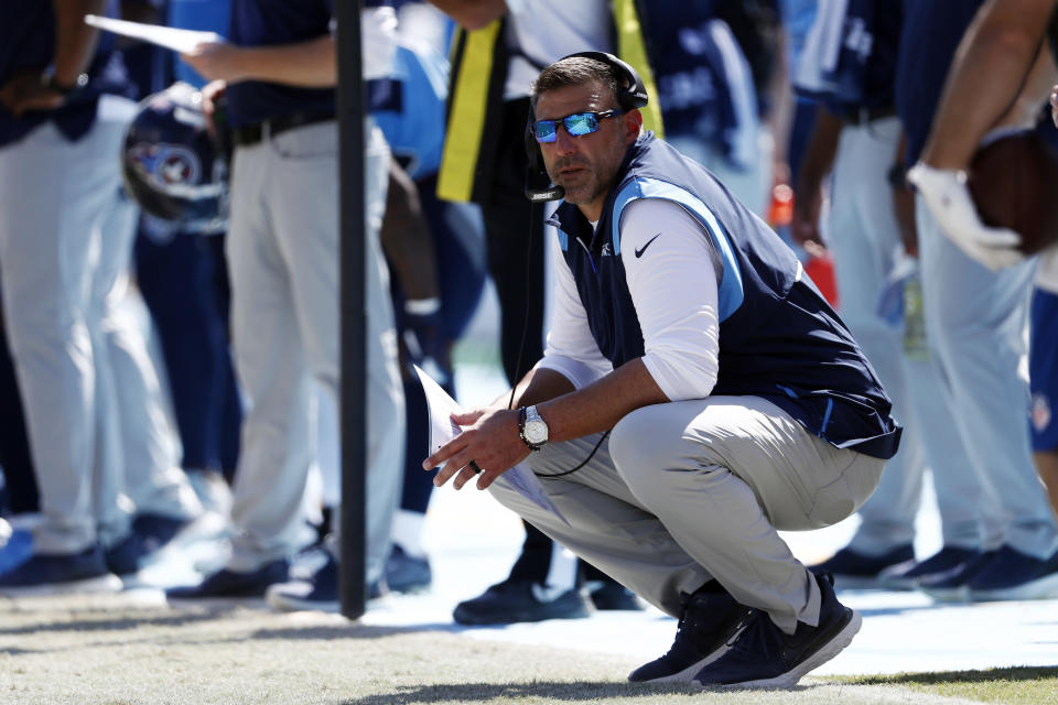 Tennessee Titans head coach Mike Vrabel watches from the sideline in the first half of an NFL football game against the Indianapolis Colts Sunday, Sept. 26, 2021, in Nashville, Tenn. (AP Photo/Wade Payne)