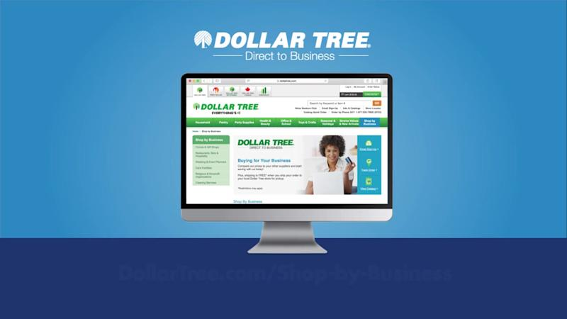 Computer screen with Dollar Tree e-commerce site, along with direct to business logo.