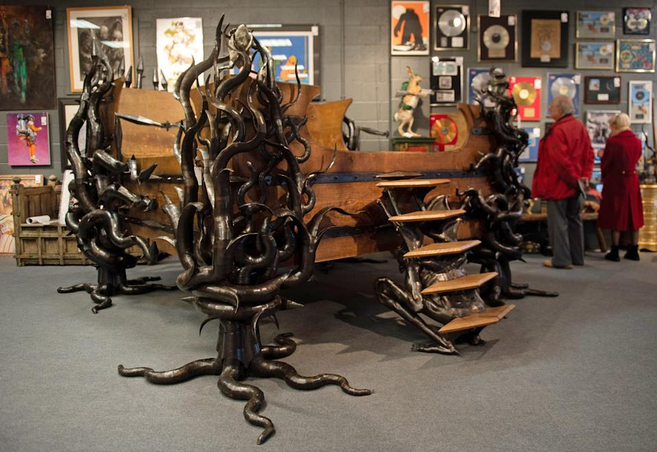 """File photo dated 05/11/19 of the late Prodigy star Keith Flint's custom made oak and steel bed on display prior to its sale at Cheffins auctioneers in Cambridge. An auction of items which belonged to late The Prodigy star Keith Flint """"surpassed all expectations"""", fetching a total of �347,750."""