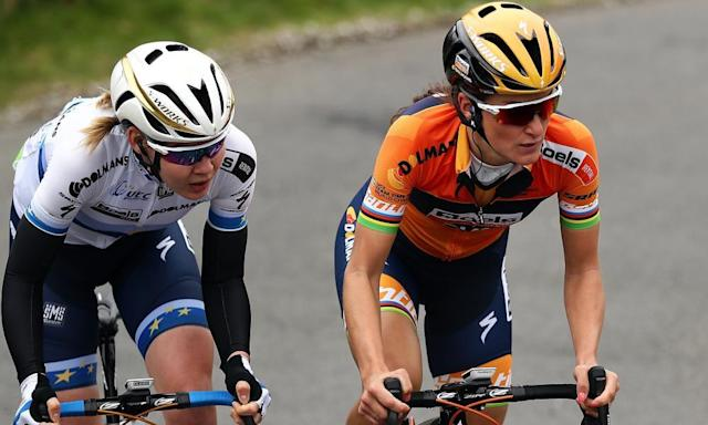 """<span class=""""element-image__caption"""">Lizzie Deignan, right, hailed the establishment of financial parity in the Women's Tour and Tour of Britain.</span> <span class=""""element-image__credit"""">Photograph: Bryn Lennon/Getty Images</span>"""