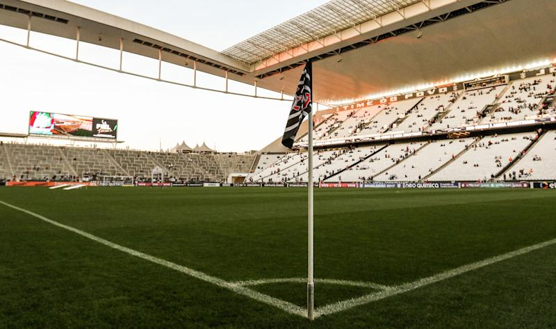SAO PAULO, BRAZIL - JULY 15: General view of the stadium before the match between Corinthians and Atletico PR for the Brasileirao Series A 2017 at Arena Corinthians Stadium on July 15, 2017 in Sao Paulo, Brazil. (Photo by Alexandre Schneider/Getty Images)