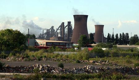 A general view shows the British Steel works in Scunthorpe