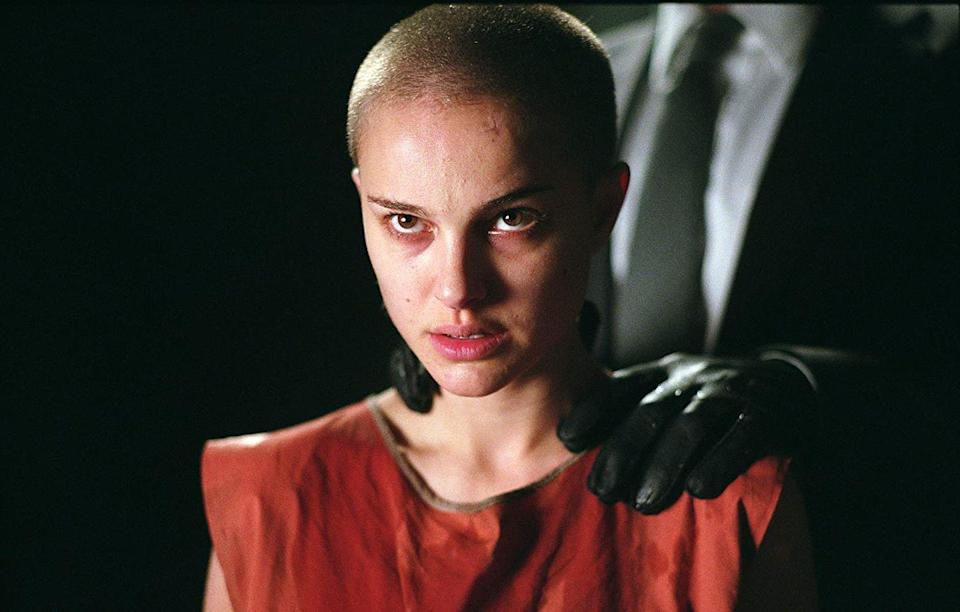 <p><strong>Shaved</strong></p><p>Portman also proved her fearlessness on camera when she famously shaved her head for her role in 2005's <em>V for Vendetta</em>. </p>