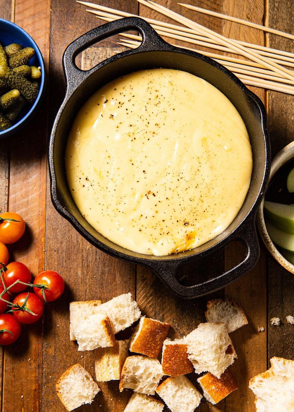 """<p>This is the fundamental fondue that started it all. </p><p>Get the recipe from <a href=""""https://www.delish.com/cooking/recipe-ideas/a30503896/cheese-fondue-recipe/"""" rel=""""nofollow noopener"""" target=""""_blank"""" data-ylk=""""slk:Delish"""" class=""""link rapid-noclick-resp"""">Delish</a>.</p>"""