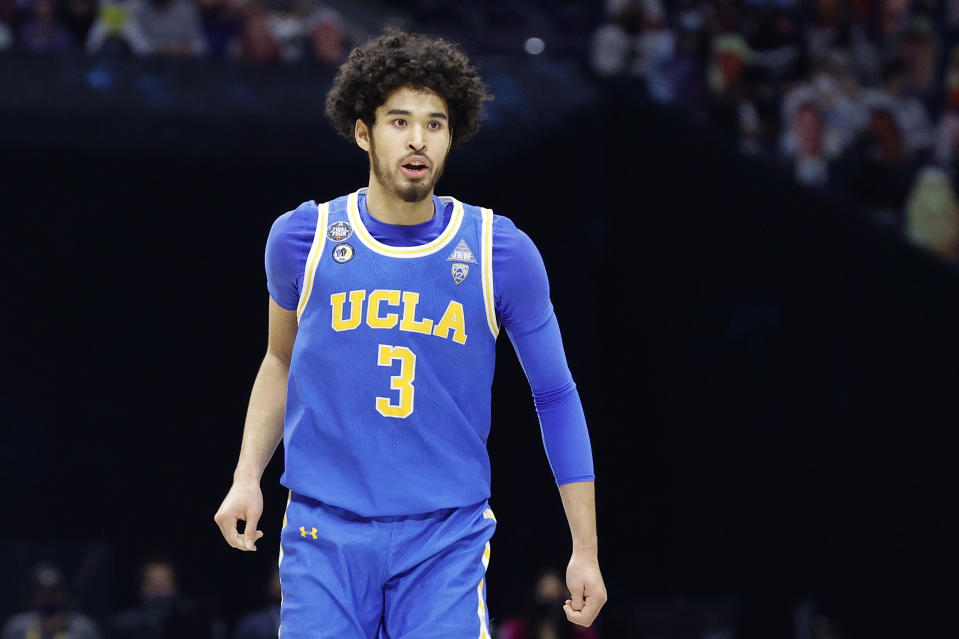 INDIANAPOLIS, INDIANA - APRIL 03: Johnny Juzang #3 of the UCLA Bruins reacts in the second half against the Gonzaga Bulldogs during the 2021 NCAA Final Four semifinal at Lucas Oil Stadium on April 03, 2021 in Indianapolis, Indiana. (Photo by Tim Nwachukwu/Getty Images)