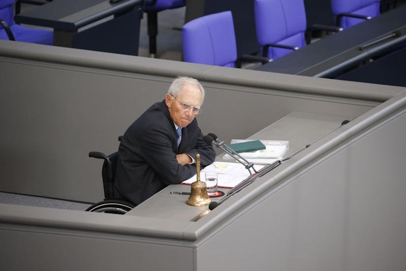 BERLIN, GERMANY - MAY 06: Bundestags President Wolfgang Schaeuble arrives in the plenary hall of Germany's lower house of parliament or Bundestag during a question time on May 6, 2020 in Berlin, Germany. Germany is carefully lifting lockdown measures nationwide in an attempt to raise economic activity. (Photo by Michele Tantussi/Getty Images)