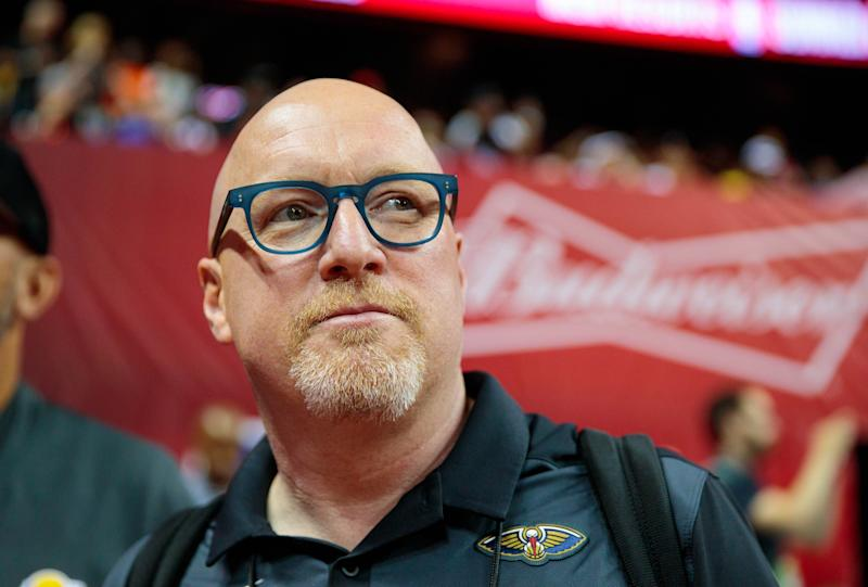 Jul 5, 2019; Las Vegas, NV, USA; New Orleans Pelicans general manager David Griffin in attendance against the New York Knicks during an NBA Summer League game at Thomas & Mack Center. Mandatory Credit: Mark J. Rebilas-USA TODAY Sports