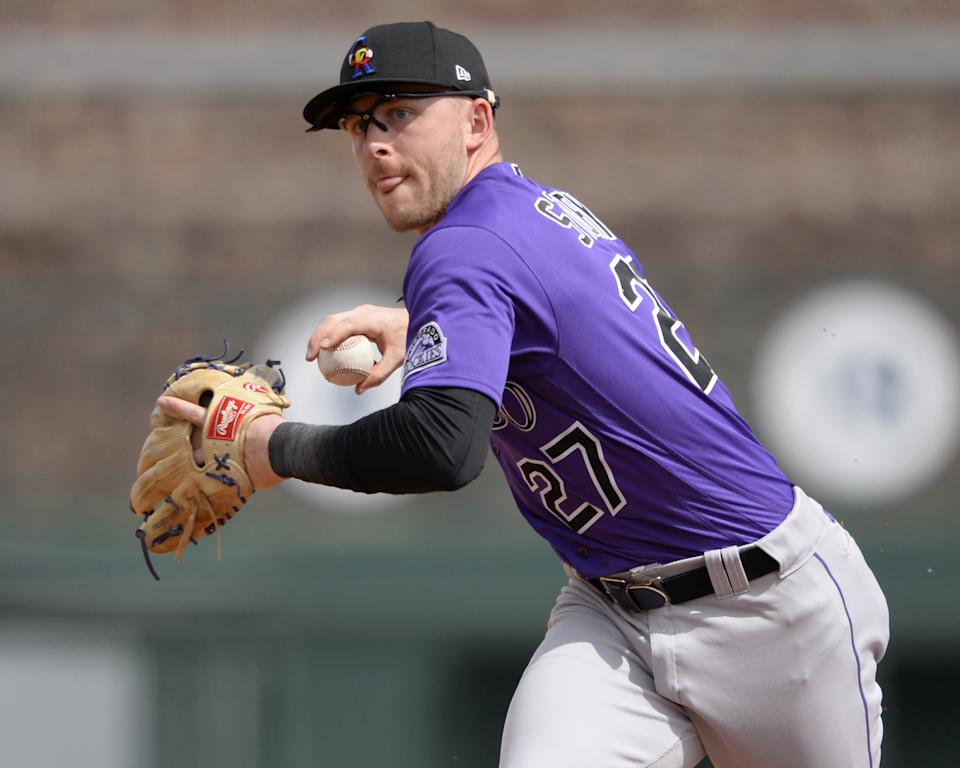 GLENDALE, ARIZONA - MARCH 07:  Trevor Story #27 of the Colorado Rockies fields against the Chicago White Sox on March 7, 2021 at Camelback Ranch in Glendale Arizona.  (Photo by Ron Vesely/Getty Images)