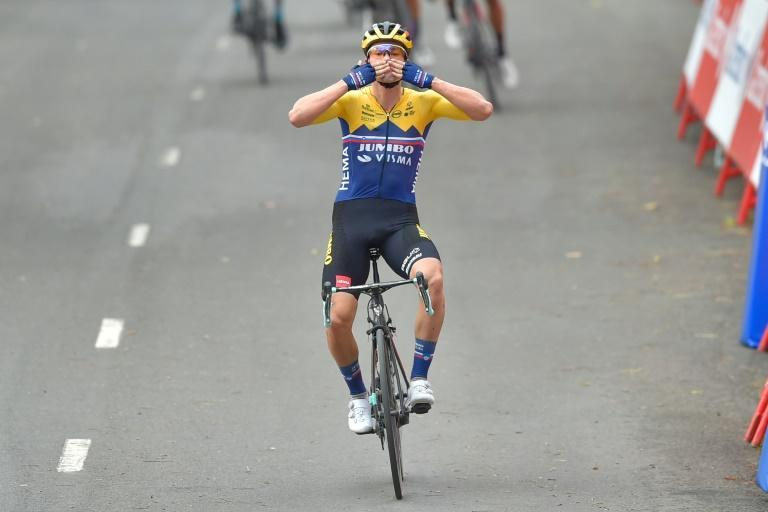 Jumbo-Visma's Slovenian rider Primoz Roglic celebrates winning the first stage of the 2020 Vuelta