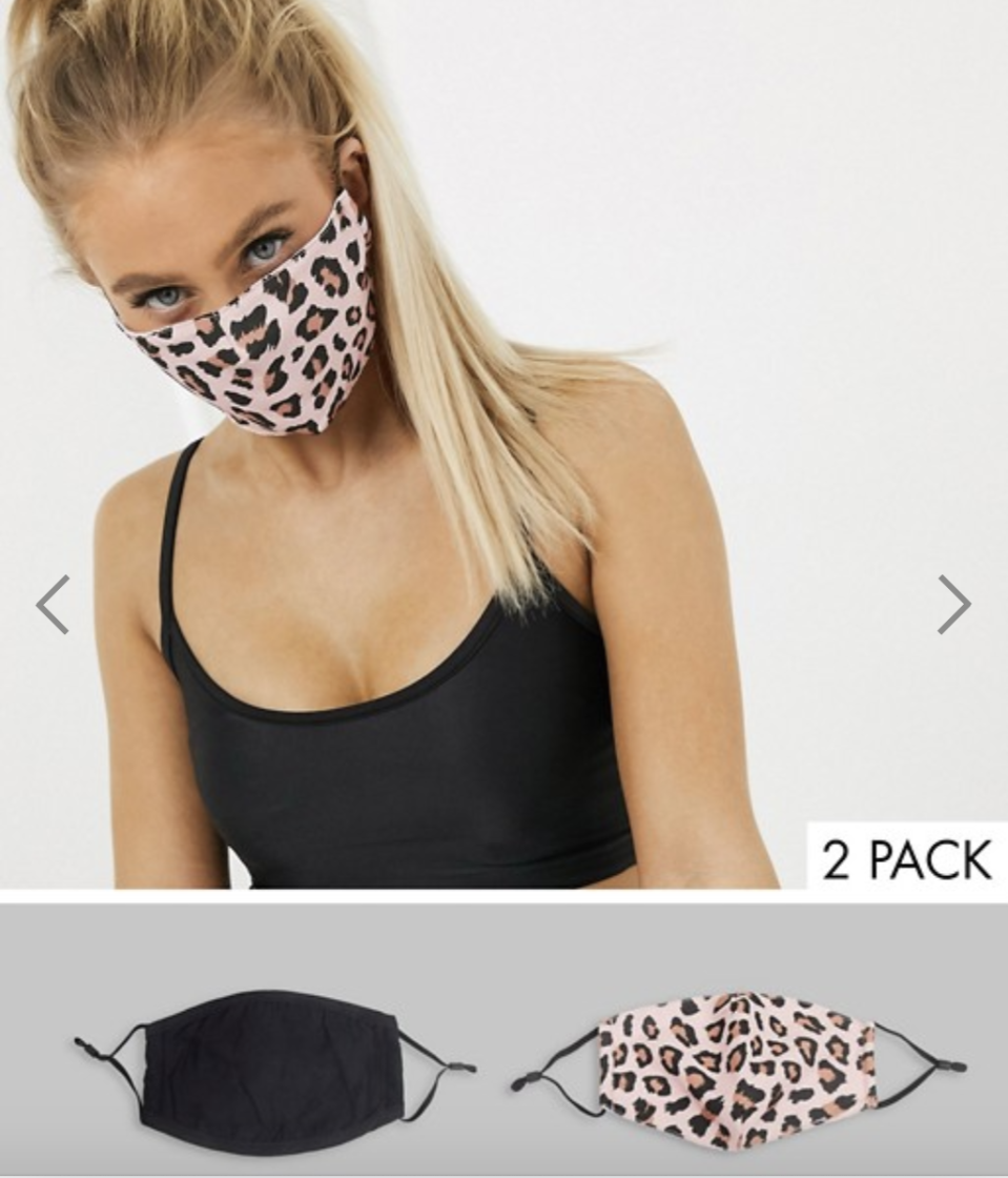 DesignB London Exclusive 2 pack face covering with adjustable straps, US$23. PHOTO: ASOS
