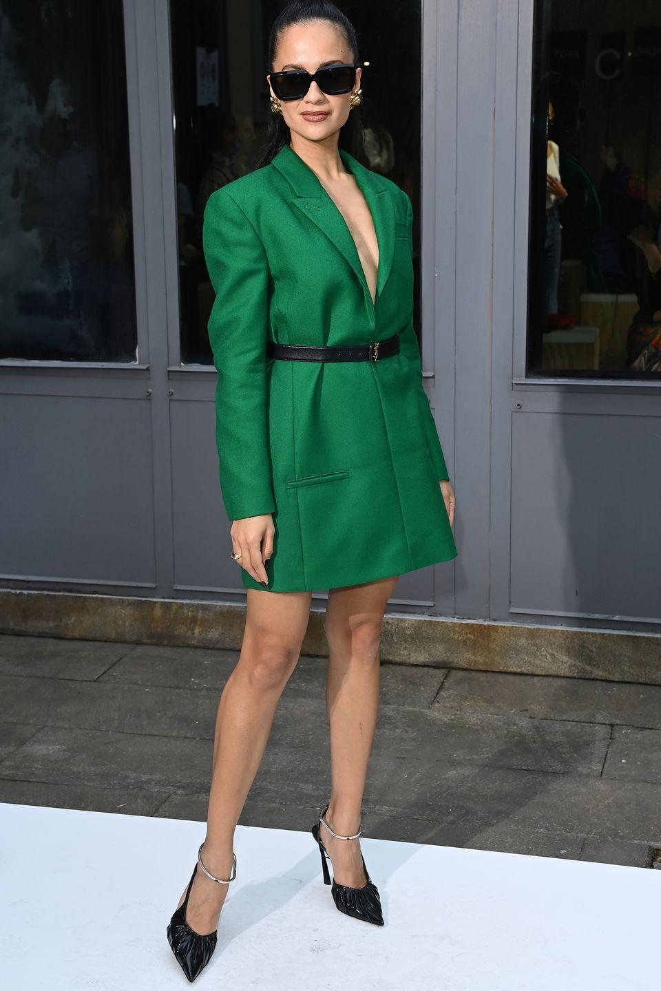 <p><strong>25 September</strong></p><p>Anna Vitiello attended the Philosophy Di Lorenzo Serafini show in a green blazer dress. </p>