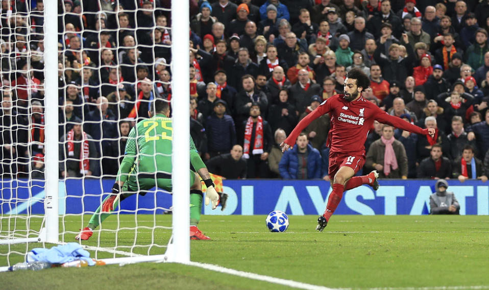 Mohamed Salah scores the goal which proved enough to keep Liverpool alive in the UEFA Champions League 2018/19.