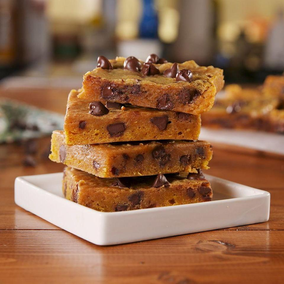 "<p>Rest assured, this recipe went through A TON of testing until the bars' consistency were as close as possible.</p><p>Get the <a href=""https://www.delish.com/uk/cooking/recipes/a34188196/pumpkin-spice-blondies-recipe/"" rel=""nofollow noopener"" target=""_blank"" data-ylk=""slk:Pumpkin Spice Blondies"" class=""link rapid-noclick-resp"">Pumpkin Spice Blondies</a> recipe.</p>"