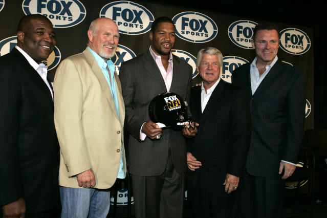 "From left: Curt Menefee, Terry Bradshaw, Michael Strahan, Jimmy Johnson and Howie Long have been staples on ""Fox NFL Sunday"" for years. (AP)"