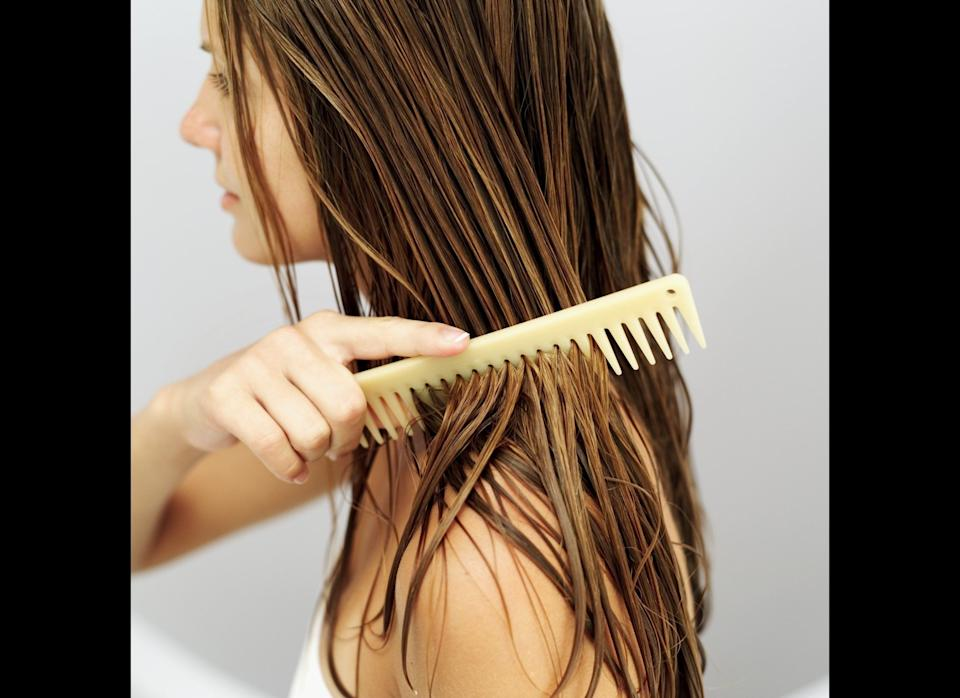 """""""Sun, salt water and chlorine can really dry out your hair, leading to split ends and ruining your color,"""" Dr. Wu says. To prevent this problem, rinse your hair with fresh water and apply conditioner when you get out of the pool or ocean. This can also keep the metals in pool water from turning blond hair green, she says.     If you wear a part or have thinning hair, rub some SPF into your scalp to prevent painful burning. For coarser hair, Dr. Wu also recommends staying away from oil-based hair products, which can make your mane look and feel greasy. """"Instead, switch to an oil-free hair serum and only use it as needed to tame frizz."""""""