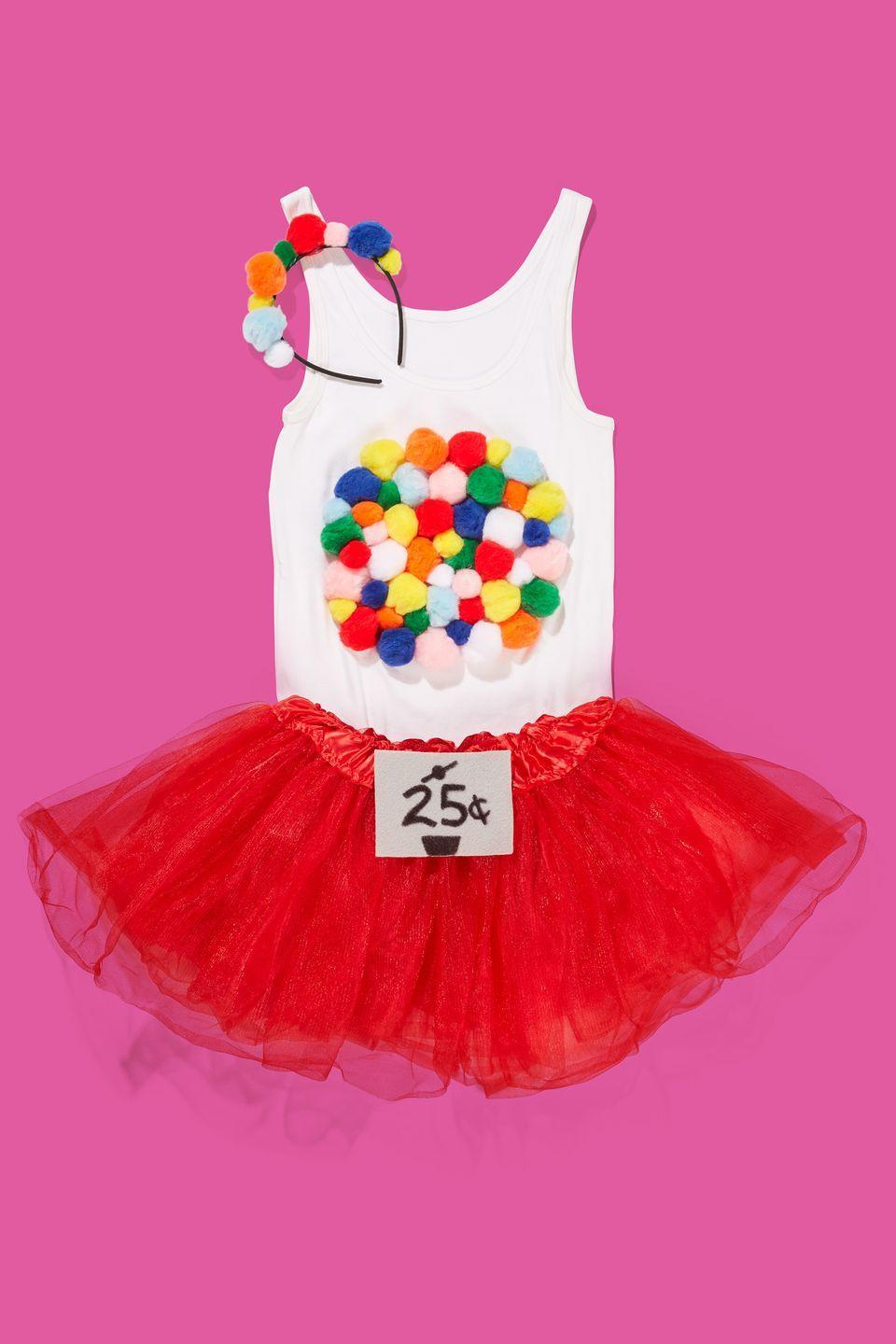"""<p>Glue multi-colored pom-poms onto a white tank top and a black headband. Add a DIY 25¢ sign to a red skirt so everyone gets the picture.</p><p><a class=""""link rapid-noclick-resp"""" href=""""https://www.amazon.com/Pack-Crafters-Square-Count-Multi-Color/dp/B00T6OQ6I6?tag=syn-yahoo-20&ascsubtag=%5Bartid%7C10070.g.490%5Bsrc%7Cyahoo-us"""" rel=""""nofollow noopener"""" target=""""_blank"""" data-ylk=""""slk:SHOP MULTICOLOR POM-POMS"""">SHOP MULTICOLOR POM-POMS</a> </p>"""